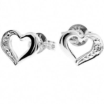 d2df06e37 Amazon.com: Diamond Baby Heart 9k Solid White Gold Stud Earrings W51370:  Jewelry
