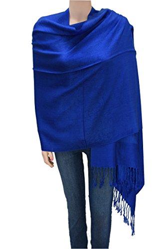 Flyingeagle Trade Jacquard Paisley Pashmina Shawl Scarf Stole for Women (RoyalBlue)