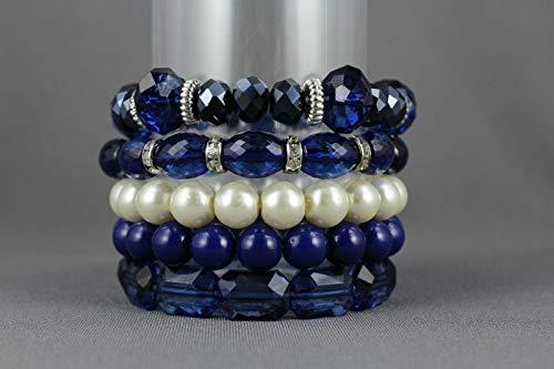 Navy Blue beaded stretch bracelet set of 5 bracelets faux pearl beads stackable R-5392