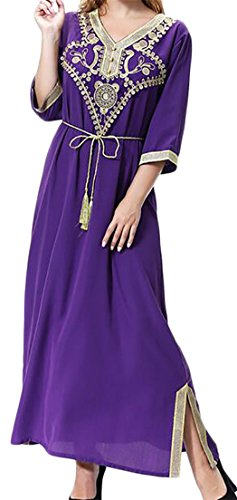 Sweatwater Womens Summer Kaftan Muslim V-Neck Half Sleeve Arabic Maxi Dress Purple Medium