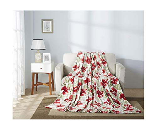 All American Collection Super Soft Printed Throw Blanket (Throw Size, Red Flower)