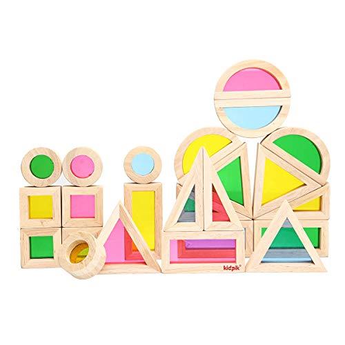 - Kidpik 24PCS Wooden Rainbow Blocks Toys Construction Building Toy Set Stacking Blocks