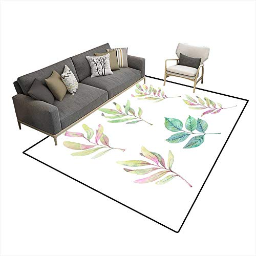 Anti Skid Rugs Handrawn Watercolor Illustrations Spring Leaves anbranches Floral Design Elements Perfect for Wedding Invitations greeti 5'x7' (W150cm x L210cm