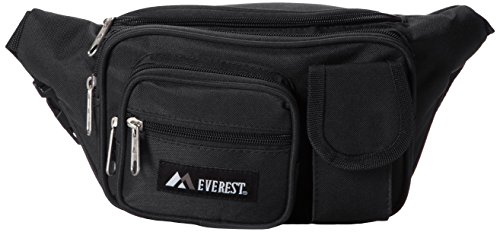 Everest Multiple Pocket Waist Pack, Black, One Size (3 Pocket Fanny Pack)