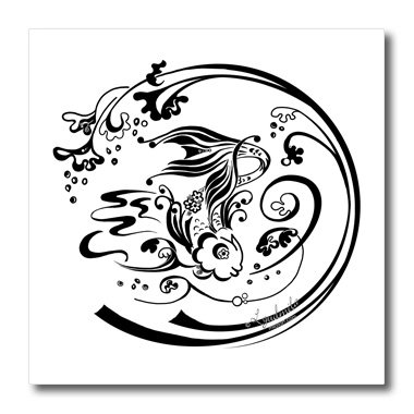 ht_4471_3 Milas Art Aquatic - Fairy Tail Fish - Iron on Heat Transfers - 10x10 Iron on Heat Transfer for White Material