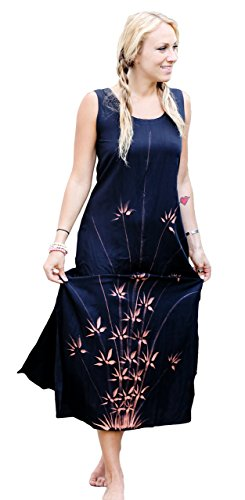 1 World Sarongs Womens Black Long Dress with Hand Painted Bamboo Design - X-Large