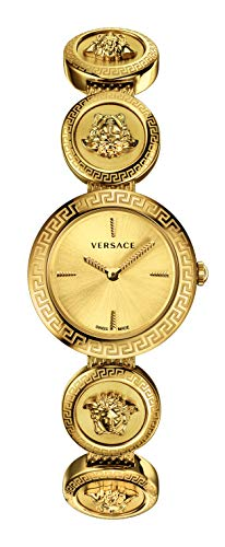 Versace VERF00718 Medusa Stud Icon Ladies Gold-Tone Stainless Steel ()