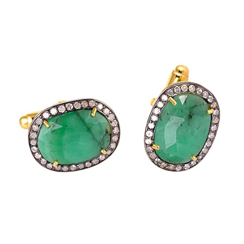 Christmas Gift ! 6.8 ct Emerald Diamond 14kt Solid Gold Silver Cuff links Jewelry For Men's by Jewelry Diamond Jewels
