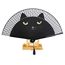 MonkeyJack Japanese Handheld Painted Cartoon Cat Folding Fan with Wooden Fan Display Stand Holder Home Decoration