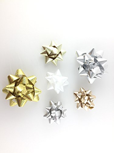 20 Assorted Stick & Peel Gift Bows (White/Gold/Bronze/Silver)