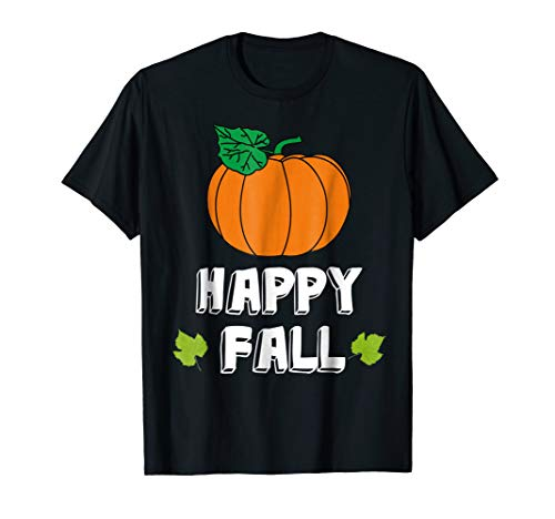 Happy Fall Autumn Pumpkin With Leaves T-shirt -