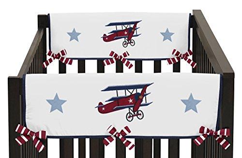 Sweet Jojo Designs 2-Piece Vintage Aviator Teething Protector Cover Wrap Baby Boy Crib Side Rail Guards