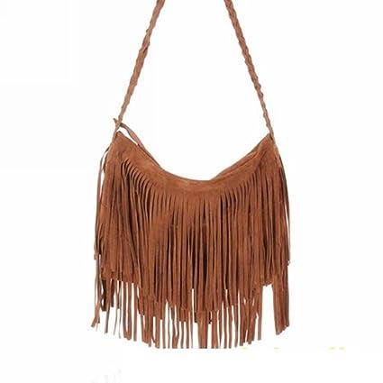 e897fa1a7 bolso de las mujeres - TOOGOO(R)Bolso Borlas Bolsa Bandolera Mujer Flecos  Largos