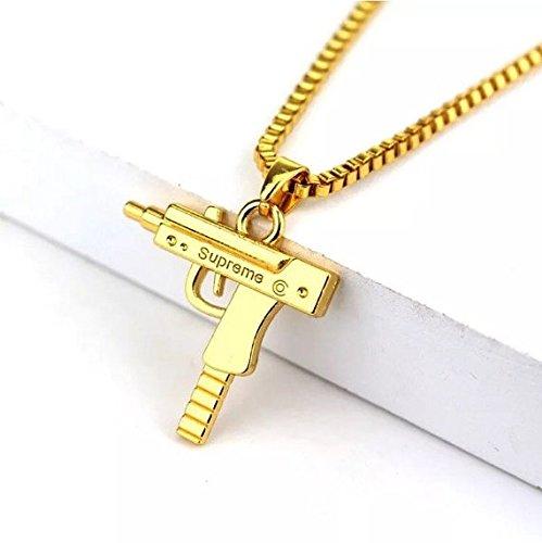 Più affidabile così economico prezzo folle Collana + CIONDOLO Uzi inciso Supreme Gun Oro Gold color Hip Hop