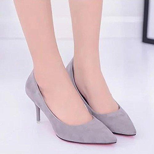 Sikye Ladies Office Work Shoes,Elegant Flock Slip On Dress Pump Classic Pointed Toe High Heel Shoe Gray