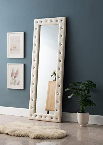 Kings Brand Furniture - Modern Upholstered Tufted Standing Floor Mirror, Beige