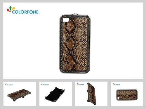 Brillant Case Brown Serpent strass Motif de serpent dur pour Apple iPhone 4 / 4S Case de couverture de Shell dur de couverture de couverture pour le terminal