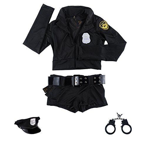 SSQUEEN Women's Sexy Police Uniform Masquerade Clothes with Handcuffs (set1)
