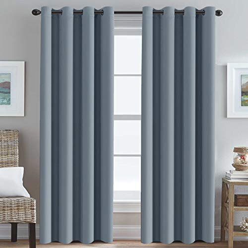 (Blackout Curtains for Bedroom 84 Inches Blue Thermal Insulated Room Darkening Curtains for Living Room, Thermal Insulated Energy Saving Curtains for Patio Door - Grommet Top (Stone Blue, 1 Panel))