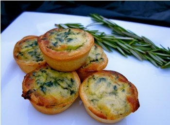 Order Tasty Quiche Florentine for Halloween - Gourmet Frozen Appetizers (40 Piece Tray) - A tasty blend of fresh Spinach, Cheese and Cream.