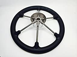 Pactrade Marine Boat SS304 Steering Wheel with Sleeve 6 Spoke, Black