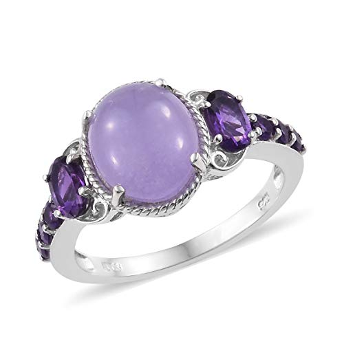 (925 Sterling Silver Statement Ring for Women Platinum Plated Dyed Color Purple Jade Amethyst Gift Jewelry Size 5)