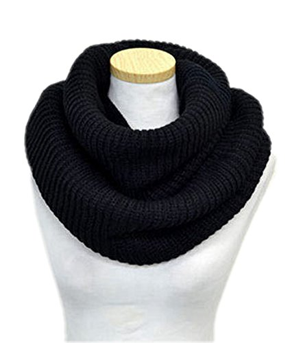 Spikerking Unisex Soft Thick Knitted Winter Warm Infinity Scarf,Black