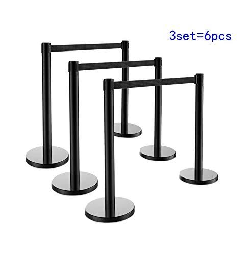 Cypressshop 6 Pcs Crowd Control Barrier Stanchions Barrier Poles Posts Queuing Pole Retractable Black Belt