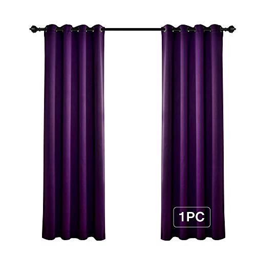 (MYSKY HOME Solid Grommet top Thermal Insulated Window Blackout Curtains for Bedroom, 52 x 84 Inch, Royal Purple, 1 Panel)