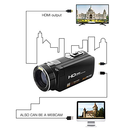 """Camcorder Video Camera Full HD 1080p @30fps Camcorders 3"""" Touch Screen Digital Camera Support Webcam with Remoter Controller by COMI (Image #4)"""