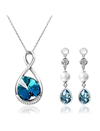 2566e7487077 Aroncent 1PCS Collar 2PCS Pendientes Swarovski Cristal Azul Juego de  Joyería Mujer Amor Infinito Plata de