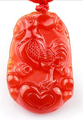 (Nanamap 12 Chinese Traditional Zodiac RED Jade Pendant/Lucky Necklaces/ (Chicken))