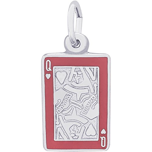 Rembrandt Charms Sterling Silver Red Enamel Queen of Hearts Charm (15 x 10 mm)