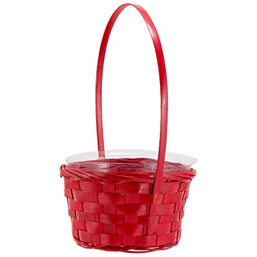 6 Round Red Wicker Handwoven Gift Arrangement, Easter Basket – 4×6 with Handle (includes Plastic Insert Liner) by Royal Imports