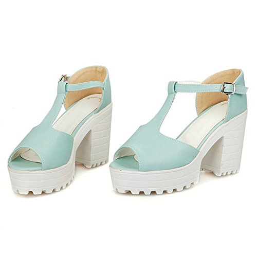 RAZAMAZA Mujer Moda Peep Toe Tacon Ancho Colegio Sandalias Correa en T Plataforma Zapatos Azul