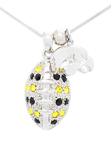 Violet Victoria & Fan Star Jewelry University of Iowa Hawkeyes Football Necklace - Large - Black & Yellow Crystals ()