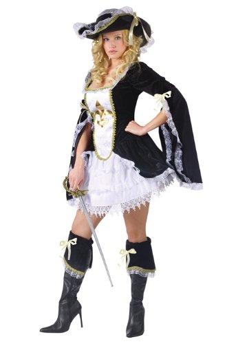 3 Musketeers Female Costumes (FunWorld Midnight Musketeer, Black, 2-8 Small Costume)