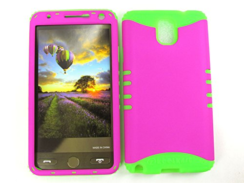 SAMSUNG GALAXY NOTE 3 CASE NEON HOT PINK GR-A006-EA HEAVY DUTY HIGH IMPACT HYBRID COVER LIME GREEN SILICONE