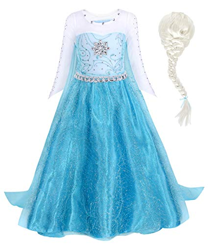 HenzWorld Little Girls Princess Dress Elsa Snow Party Queen Halloween Costume with Wig Birthday Cosplay Outfits 2-3 Years]()