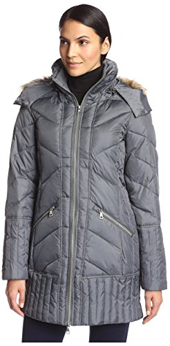 Price comparison product image Sam Edelman Women's Kate Puffer with Faux Fur, Charcoal, XS