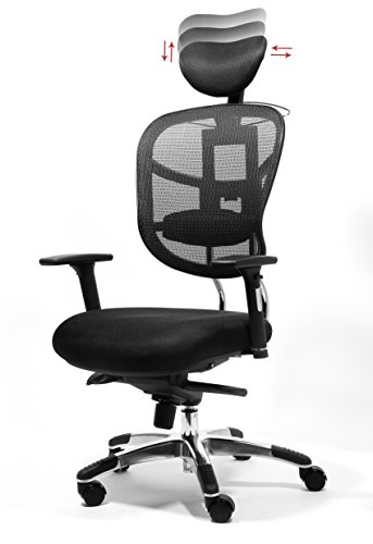 mic Chair, Managers High Back Mesh Chair, Adjustable Height, Headrest, Arms, Seat Slider, Smooth Rolling Casters for Office Floor or Carpet ()