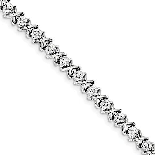 - 925 Sterling Silver Diamond X Bracelet 7 Inch Tennis Add?a? Hug Kiss Qd Fine Jewelry Gifts For Women For Her