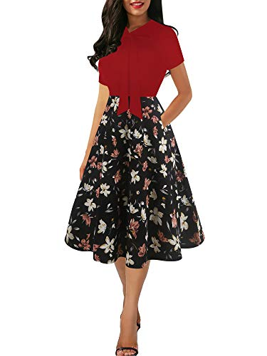 oxiuly Women's Vintage Chic Bow Tie V-Neck Short Sleeve Floral Flare Work Party Cocktail Casual A-line Midi Dress with Pockets OX278 (L, Wine-OWF)