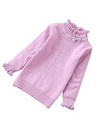 Pandapang Girl Cute Ruffles Solid Mock Neck Knitted Bowknot Sweater