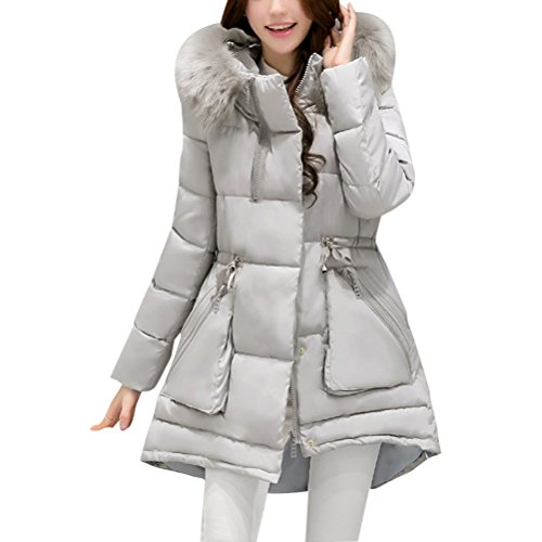 Gray Hooded Thick Down Cute Warm Zhhlinyuan Long Hiver Jacket et Outdoor Womens Padded élégant Ladies Outerwear Slim Chic Coats T8YqU