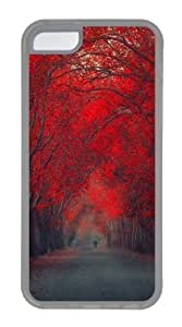 iPhone 5C Cases, iPhone 5C Case - Red Leaf Trees Custom PC Case Cover For iPhone 5C - Tranparent