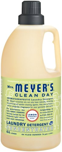 Mrs. Meyer's Clean Day 2x HE Liquid Laundry Detergent, Lemon Verbena, 64-Ounce Bottles (Pack of 6)