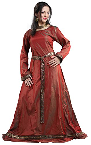 Medieval Renaissance Pirate Isabel Silk Dress Gown (Large) Red ()