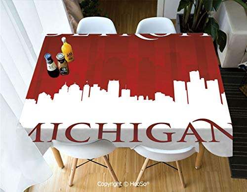 Printed Table Cloth, Rectangle Table Cover in Washable Polyester for Parties, Holiday Dinner, Wedding & More,Detroit Decor,Michigan City Silhouette Red and -