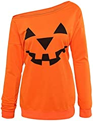 Niyage Women's Off Shoulder Sweatshirts Halloween Pumpkin Face Pullover Shirts Casual Long Sleeve